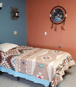 Southwest themed bedroom at Fiddler's veteran;s home